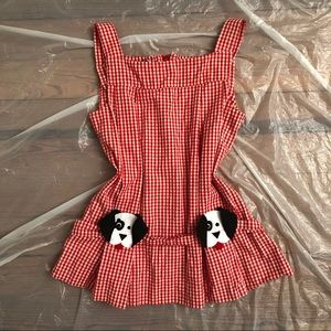 70s Gingham Puppy Dog Top
